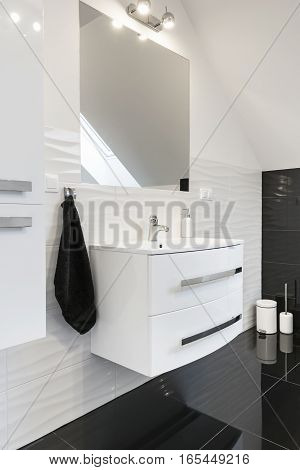 Deatil of modern design comfortable bathroom in black and white style