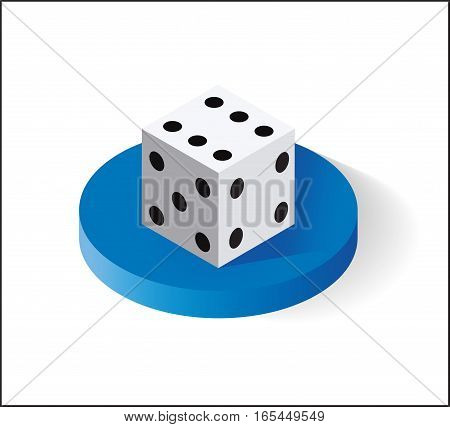 Dice, Isometric icon. Isolated on white background. Vector illustration