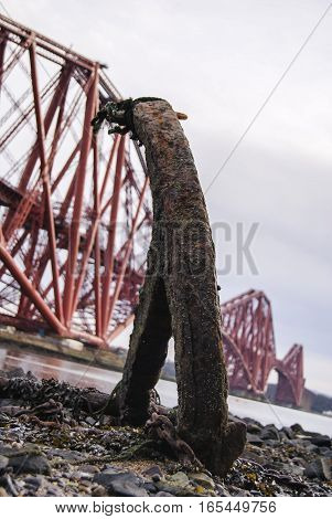 Anchor rusted on shore of the River Forth