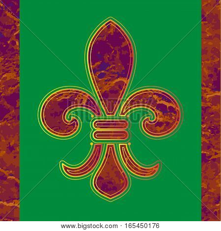 Fleur de lille. Vector illustration.Golden line Fleur-de-lis on a green background.