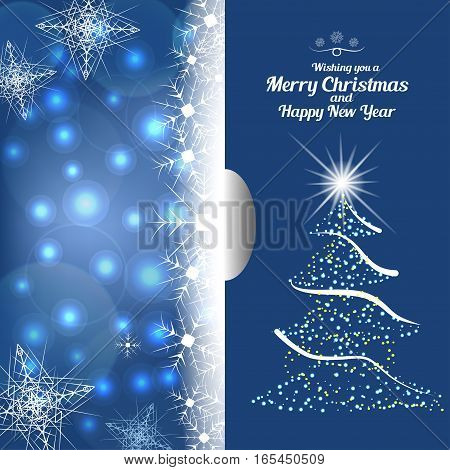 Vector illustration of greetings empty envelope with christmas tree and insert for Merry Christmas and Happy New Year on the abstract blue background with radiance and snowflakes. poster