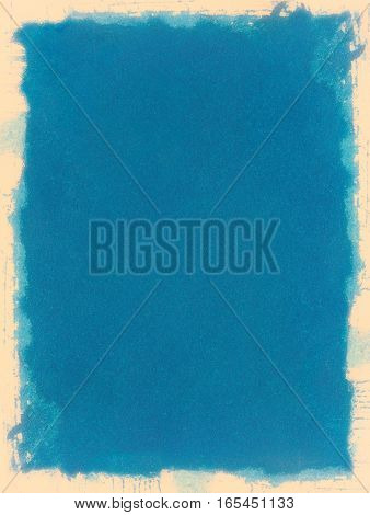 A grungy blue paper background with a watercolor edge effect and cream colored border.