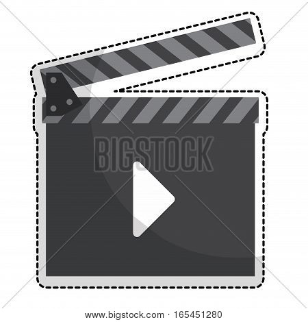 clapboard movie or video related icon image sticker vector illustration design