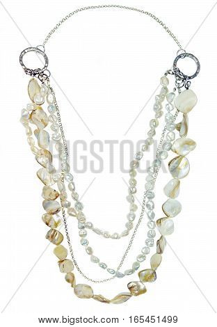 Beads from pearls and pieces of pearl shells isolated on white
