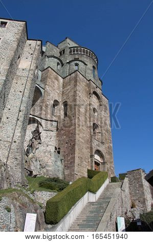 Italy Piedmont - April 5 2015: view of the of Saint Michael's Abbey facade in Val di Susa on April 05 2015 in Piedmont Italy.