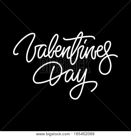 Valentines day, 14th february brushpen lettering, handwritten calligraphy for logo, design concepts, banners, badges, labels, postcards, invitations, prints, posters, web. Vector illustration.