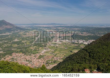 The view of Val di Susa basa from Saint Michael's Abbey. Piedmont. Italy