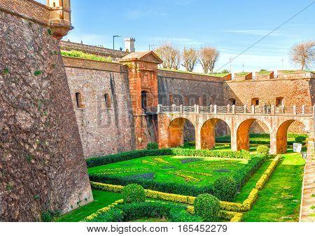 Castle of Montjuic on mountain Montjuic in Barcelona, Spain. Military Museum.