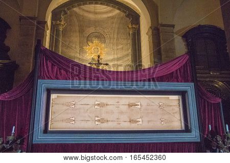 Italy Piedmont - May 25 2015: view of Turin Shroud on May 9 2015 in Piedmont Italy.