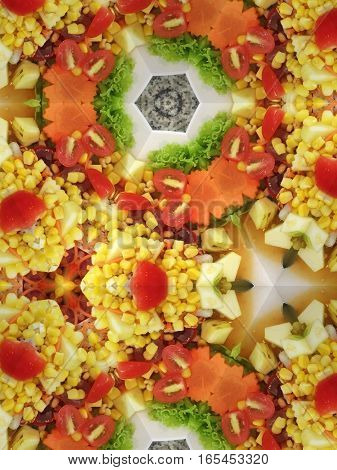 Kaleidoscope repeat design abstract pattern texture background of sour fruit salad