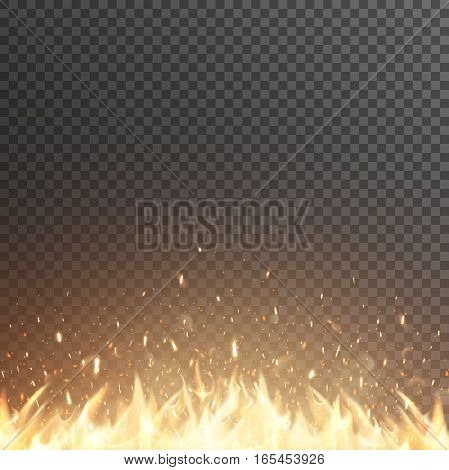Burning fire flames. Glowing particles. Vector effect with transparency. Campfire.
