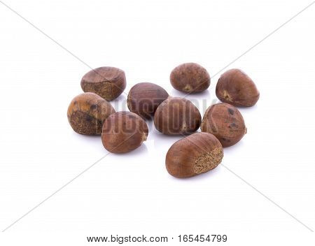 roasted chestnuts isolated on white background. .