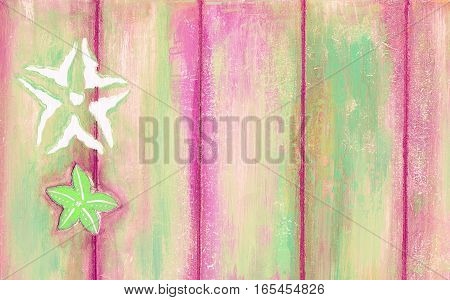 Starfishes On Peeling Paint Wooden Background