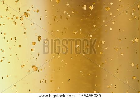 Valentine Day Golden Hearts Shape Rise Like Frizz Champagne Bubbles Movement On Gold Background, Hol