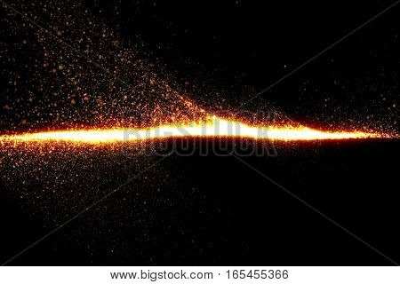 Gold Glow Glittering Particles Tail Transition Effect On Black Background, Event Festive Holiday Hap