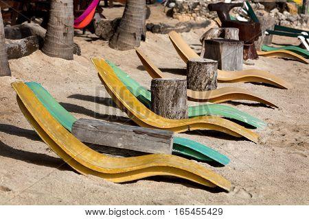 Beach beds on the Akumal beach in Quintana Roo Yucatan Mexico