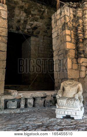 Ancient Mayan Statue In Ek Balam
