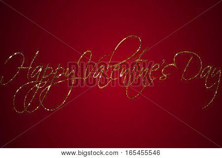 Golden Sparkle Glitter Happy Valentine Day Word Shape On Red Gradient Background, Holiday Festive Va