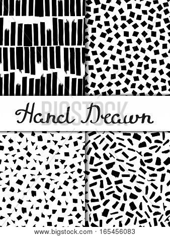 Set of 4 seamless texture. Vertical wide stripes, squares, triangles, rectangles. Abstract forms drawn a wide pen and ink. Backgrounds in black and white. Hand drawn. Vector illustration.