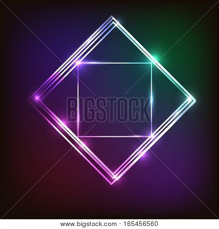 Abstract colorful neon background with squares, stock vector