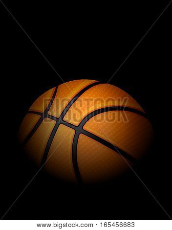 A realistic illustration of a basketball in dark shadows and harsh light against a black background. Vector EPS 10 available.