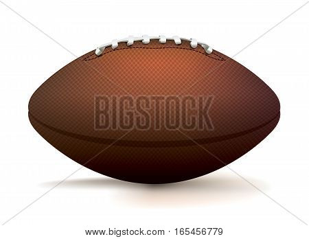 A side profile of an American football sitting isolated on a white background. Vector EPS 10 illustration available.
