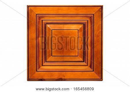 Isolated front red maple wooden door for bathroom and kitchen cabinets. Cabinet, Red Cherry Color, Kitchen, Door, Slab Door