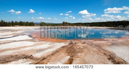 Turquoise Pool In The Midway Geyser Basin In Yellowstone National Park In Wyoming Usa