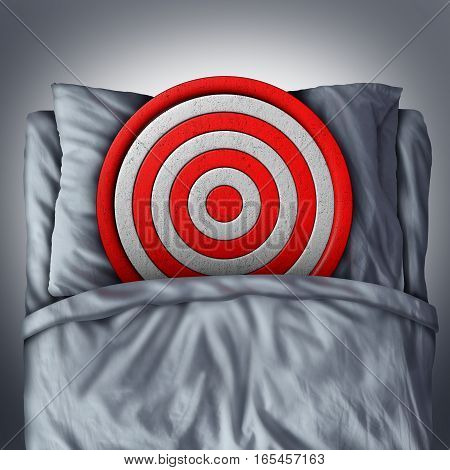 Dreams and goals concept as a bullseye target resting on a pillow in a bed as a focused vision for setting a strategy for success with 3D illustration elements.