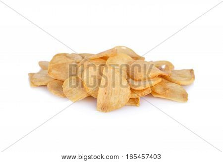 fried garlic chips on a white background