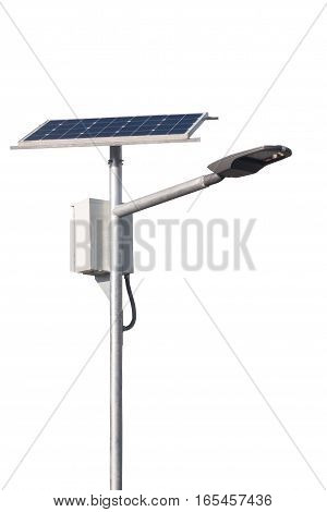 Led Street Lamps Post With Solar Cell On White Background