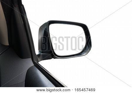 Side Rear-view Mirror On A Car With White Background