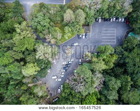 Car Parking In Forest, Shallow Depth Of Focus, Top Or Aerial View Background