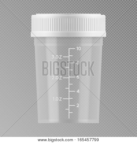 Vector sterile plastic container for medical analyzes. Blank template of clear empty transparent jar for urine or liquid for laboratory analysis. Realistic 3d mock-up isolated on grey background