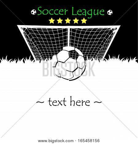 Abstract soccer ball on the background of the gate. Soccer league. Vector illustration