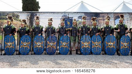 ROME ITALY - APRIL 19 2015: Birth of Rome festival - Actors dressed as ancient Roman Praetorian soldiers attend a parade to commemorate the 2768th anniversary of the founding of Rome.