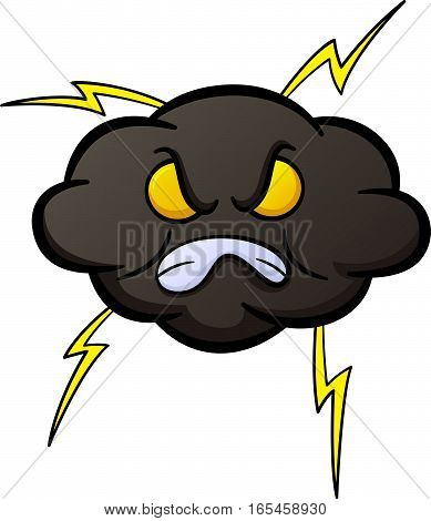 Angry Black Cloud Cartoon Illustration Isolated on White