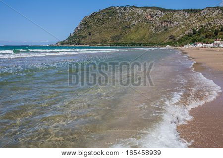 View of Terracina beach at the Mediterranean Sea Lazio Italy.