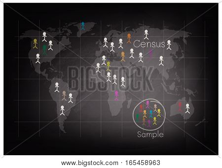 Business and Marketing or Social Research Process The Sampling Methods of Selecting Sample of Elements From Target Population to Conduct A Survey on Black Chalkboard.