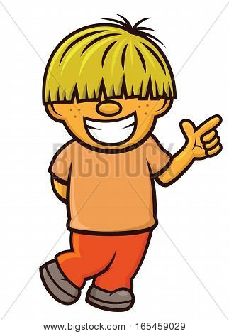 Blonde Boy Cartoon Character. Vector Illustration Isolated on White.