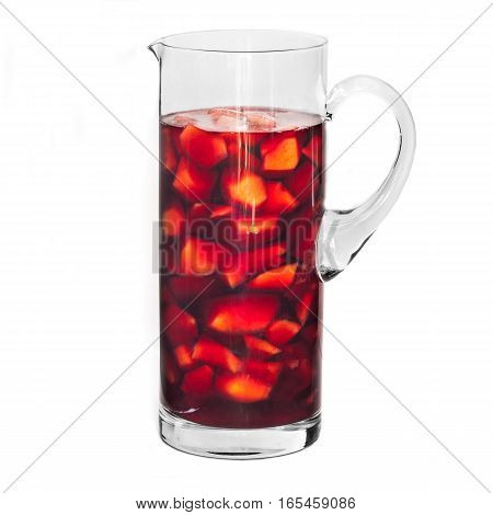 Peaches sangria in jug isolated on white background.