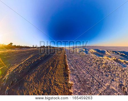 Wide Panorama Of The Border The Sandy Beach And Of Lake Baikal Ice