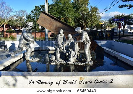 Tampa, Florida - Usa - January 08, 2016 :  9/11 Memorial - Ybor City