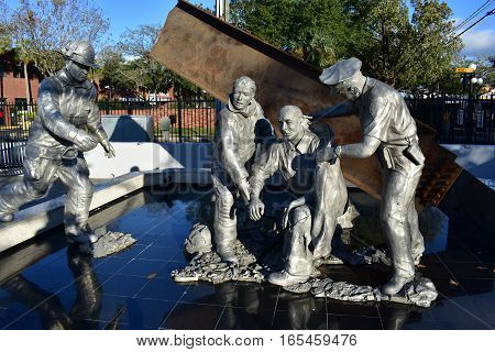 Tampa, Florida - Usa - January 07, 2016 :  9/11 Fallen Heroes Memorial In Ybor City