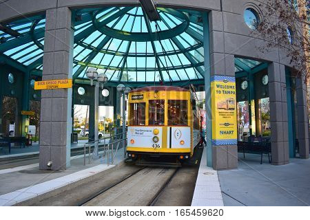Tampa, Florida - Usa - January 07, 2016 :  Streetcar Station