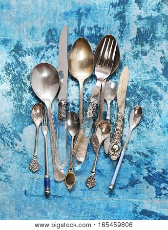 vintage silver cutlery - spoons, forks, knives