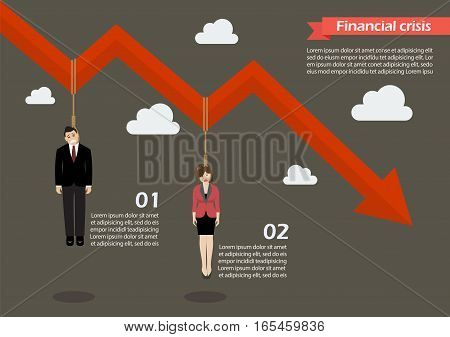 Business people hang on a graph down infographic. Business concept