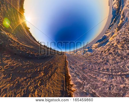 Double Sphere Sandy Beach And The Ice Of Lake Baikal. Spherical Panorama Of Little Planet