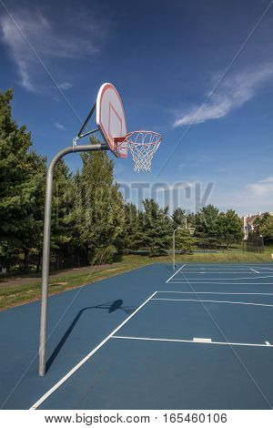 A basketball court in suburban New Jersey.