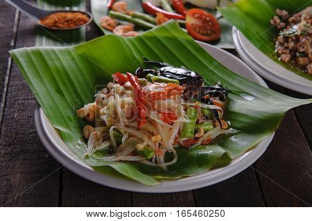 SomTam Spicy papaya salad with salted crab